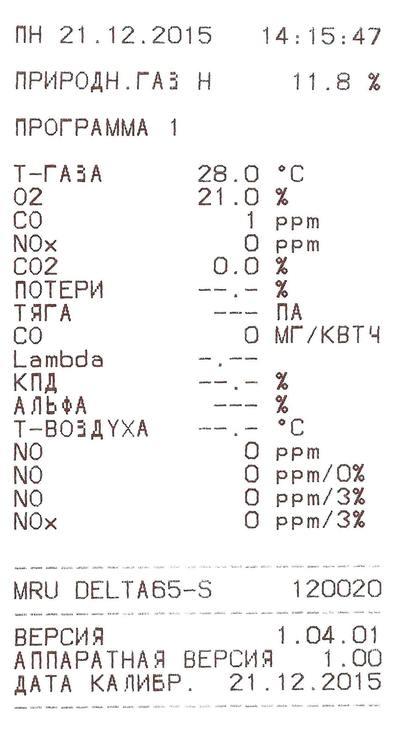 Распечатка с Газоанализатора Delta 65-S